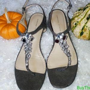 Adrienne Vittadini sandals rhinestone t-strap 8 1/